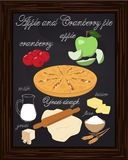 Apple cranberry pie drawn in chalk Stock Photo