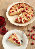Apple Cranberry Tea Cake. And fresh cranberries Royalty Free Stock Images
