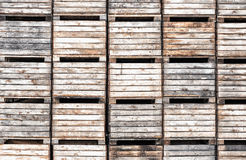 Apple crates stacked in storage Royalty Free Stock Photography