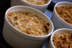 Apple Crisp. Ramekin Dishes With Individual Sevings Of Apple Crumble/Crisp royalty free stock photography