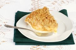 Apple crisp with a fork Royalty Free Stock Photo