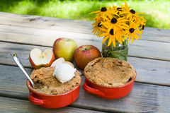 Apple Crisp with Ice Cream Royalty Free Stock Image