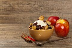 Apple crisp. With ice cream. Selective focus royalty free stock photos
