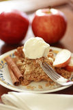 Apple Crisp with icecream. Royalty Free Stock Photo