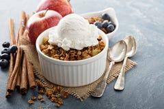 Apple crisp with vanilla ice cream Stock Photo