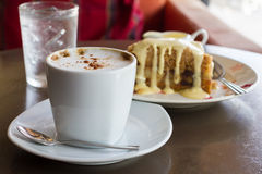 Apple crumb cake and coffee. On wooden table Stock Photography