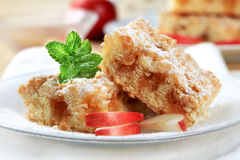 Apple crumb cake. Pieces of apple crumb cake stock image