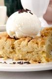 Apple crumb cake with vanilla ice cream Stock Images