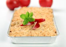 Apple crumble. In aluminum foil container Royalty Free Stock Photo