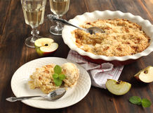 Apple crumble. With ice cream and wine Royalty Free Stock Image