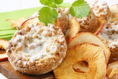 Apple crumble cookies with apple chips Royalty Free Stock Photography