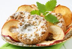 Apple crumble cookies with apple chips Royalty Free Stock Photos