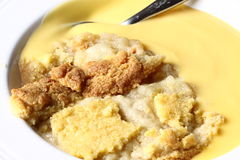Apple crumble with custard Royalty Free Stock Images