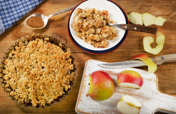 Apple Crumble Dessert on rustic wooden board. Stock Photography