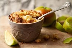 Apple Crumble Dessert Stock Photo