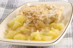 Apple crumble with home made applesauce Royalty Free Stock Photo