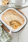 Apple Crumble. Home made apple crumble or apple cobbler stewed fruit with a crunchy topping royalty free stock images