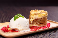 Apple crumble with ice cream royalty free stock photo
