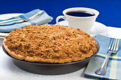 Apple Crumble Pie. Fresh baked apple crumble pie and coffee stock photo