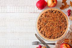 Free Apple Crumble Pie, Top View Side Border On White Wood Royalty Free Stock Photography - 126213627