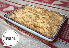 Apple Crumble. Tasty apple crumble with a nice thank you speech mark Royalty Free Stock Photography