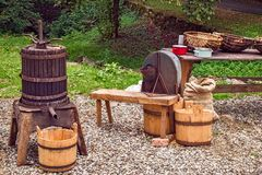 Apple crushing and pressing workshop. Apple Crushing and Pressing Romanian Traditional Workshop stock photography