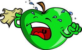 Apple crying into a tissue Royalty Free Stock Images