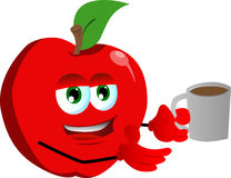 Apple with a cup of coffee Stock Photo