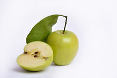 Apple cut in half Stock Photo