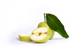 Apple cut in slices and half with leave Royalty Free Stock Photography