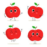 Apple. Cute fruit character set isolated on white Royalty Free Stock Images