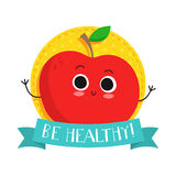 Apple, cute fruit vector character bagde Stock Photography
