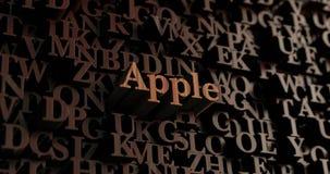 Apple - 3D en bois a rendu des lettres/message Images libres de droits