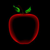 Apple (3D xray red and blue transparent) Stock Photos