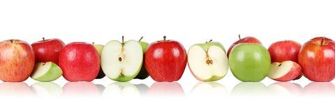 Apple da fruto frontera de las manzanas en fila aislada Fotos de archivo