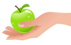 Apple dans la main Photo stock