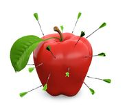 Apple and darts. 3D illustration of darts hitting red apple  on white background Royalty Free Stock Images