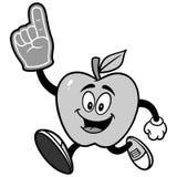 Apple, das mit einer Schaum-Finger-Illustration läuft Stockbild