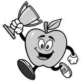 Apple, das mit einer Trophäen-Illustration läuft Stockbild