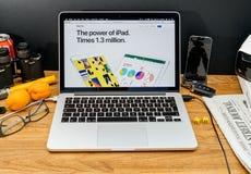 Apple-datorer på pro-senast meddelanden för WWDC av ny iPAd Arkivbild