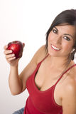 Active Woman Red Apple Fruit Food Produce Stock Photo
