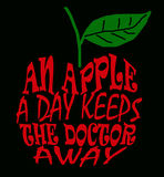 An apple a day. Words forming an apple which encourage a healthy lifestyle Royalty Free Stock Photography