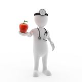 Apple a day keeps the doc away. 3D render of a doctor holding an apple Stock Images