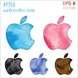 Apple-de reeks van het waterverfpictogram royalty-vrije illustratie