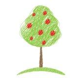 Apple-de vector van de boomschets Stock Afbeeldingen