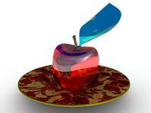 Apple de vidro em uma placa fotos de stock
