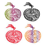 Apple decoration. Vector graphic image with apples coloured surreal silhouettes Royalty Free Stock Image