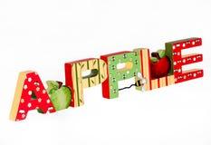 Apple-dekorative Blockschrift Stockbilder