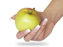 Apple in der Hand Stockfoto