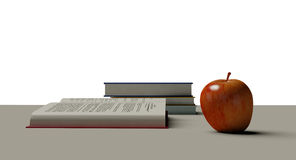 Apple on a desk Royalty Free Stock Image